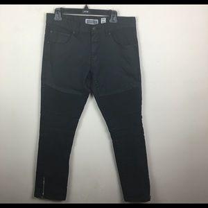 I.n.c. Stockholm skinny fit black moto jeans